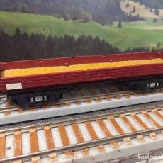 Trenes Escala: PAYÁ ESCALA S MERCANCÍAS 4 EJES DE BORDE BAJO, MARRÓN. Lote 201106007