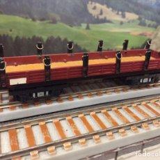 Trenes Escala: PAYÁ ESCALA S MERCANCÍAS 4 EJES DE BORDE BAJO TELERO, MARRÓN. Lote 201106551