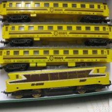 Trenes Escala: LOCMOTORA Y 3 VAGONES PAYA RENFE. Lote 215585137