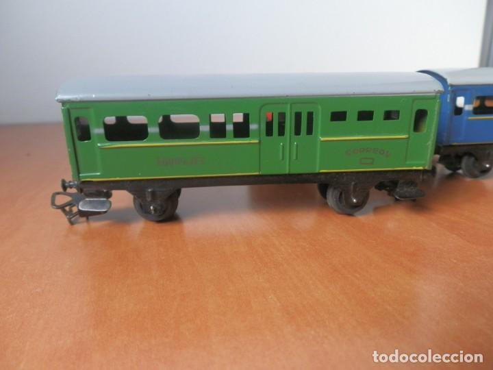 Trenes Escala: TREN PAYA: LOCOMOTORA 840, 2 VAGONES DE PASAJEROS, 1 DE CORREOS, POTENCIÓMETRO, 2 RECTAS, 8 CURVAS. - Foto 12 - 236599210