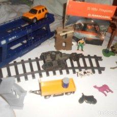 Trenes Escala: LOTE TREN ESCALA 0 Y AFIN, COCHES, FIGURAS, ACCESORIOS..DIORAMA +LIBRO. Lote 242876845