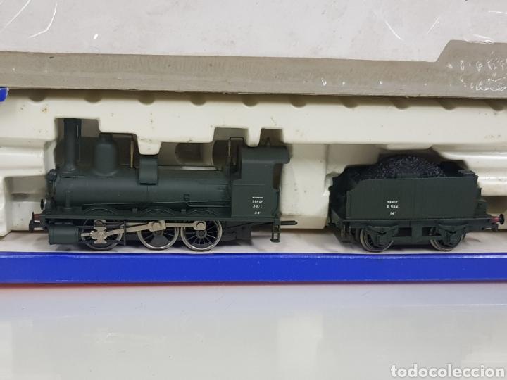 Trenes Escala: Rivarossi rarísima locomotora de la SNCF francesa a vapor corriente continua con tender verde 18cms - Foto 3 - 146235730