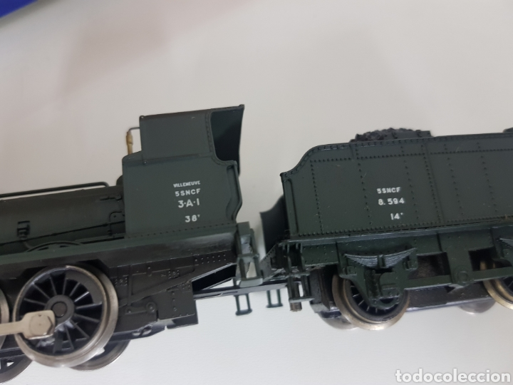 Trenes Escala: Rivarossi rarísima locomotora de la SNCF francesa a vapor corriente continua con tender verde 18cms - Foto 7 - 146235730