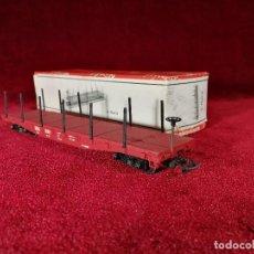 Trenes Escala: VAGON RIVAROSSI ESCALA H0 C FLAT/2 MERCANCIAS FALTA UN HIERRO - CON CAJA BUEN ESTADO. Lote 150347854