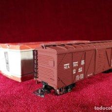Trenes Escala: VAGON RIVAROSSI ESCALA H0 C BOX/1 MERCANCIAS CERRADO - CON CAJA BUEN ESTADO. Lote 150348350