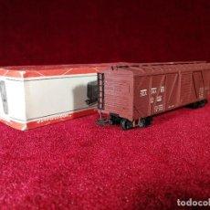 Trenes Escala: VAGON RIVAROSSI ESCALA H0 C BOX/1 MERCANCIAS CERRADO - CON CAJA BUEN ESTADO. Lote 150348506