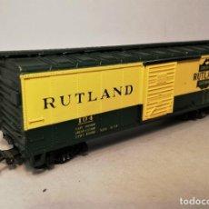 Trenes Escala: RIVAROSSI. ESCALA H0. VAGÓN AMERICANO BOXCAR. RUTLAND #104.. Lote 206959462