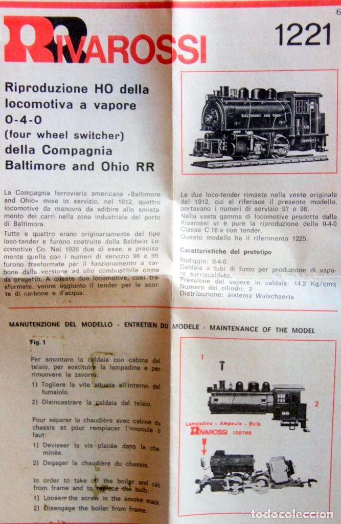 Trenes Escala: RIVAROSSI 1221–LOCOMOTORA VAPOR USA BALTIMORE&OHIO -HO Corriente continua– CAJA ORIGINAL - Foto 3 - 226859555