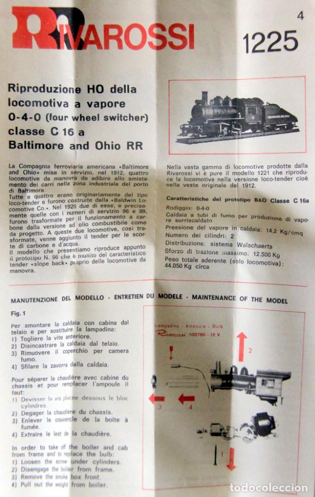 Trenes Escala: RIVAROSSI 1225–LOCOMOTORA VAPOR USA BALTIMORE&OHIO- HO CORRIENTE CONTINUA– CAJA ORIGINAL - Foto 4 - 235001940