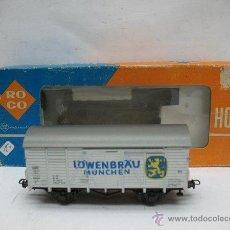 Trenes Escala: ROCO REF: 4305 D - VAGÓN DE MERCANCÍAS CERRADO DE LA DB LÖWENBRÄU - ESCALA H0. Lote 50149819