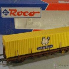 Treni in Scala: ROCO #47093-1. ESCALA H0. VAGÓN PLATAFORMA RENFE CON CONTENEDOR GALLINA BLANCA. Lote 54473306
