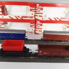 Trenes Escala: LOTE DE 4 VAGONES DE MERCANCIAS VARIAS DB ROCO SERIE HOBBY LINE ESCALA H0. Lote 95688691