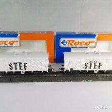 Trenes Escala: LOTE DE VAGONES DE MERCANCIAS CERRADOS STEF SNCF ROCO 4312D ESCALA H0. Lote 95694539