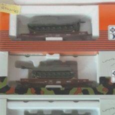 Trenes Escala: PACK 3 VAGONES CON VEHICULOS MILITARES HO ROCO 0471967 ENVIO INCLUIDO. Lote 112335636