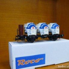 Trenes Escala: ROCO HO VAGÓN CON 3 CONTENEDORES SILO, DE LA DB, REFERENCIA 46528.. Lote 151091386