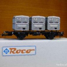 Trenes Escala: ROCO HO VAGÓN CON TRIPLE CONTENEDOR, DE LA DB, REFERENCIA 46524.. Lote 155849342