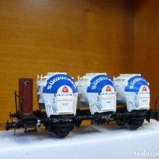 Trenes Escala: ROCO HO VAGÓN CON 3 CONTENEDORES SILO, DE LA DB, REFERENCIA 46528.. Lote 155849694
