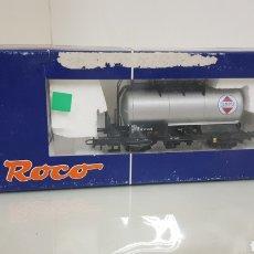 Trenes Escala: ROCOM 47775 RENFE VAGÓN CISTERNA CAMPSA ANTIGUO DE 11 CM ESCALA H0 CORRIENTE CONTINUA PLATEADO. Lote 179961675