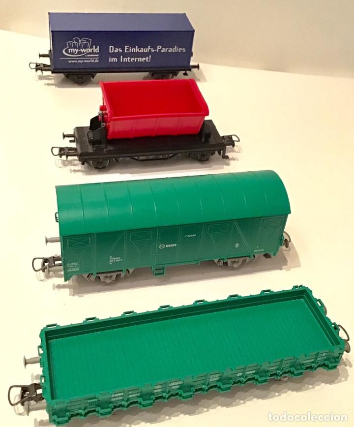 Trenes Escala: JIFFY VENDE 5 VAGONES ROCO H0: DOS DE RENFE, UNA TOLVA, UNO DE CONTENEDOR Y UNO DE BORDES ALTOS - Foto 2 - 182318818