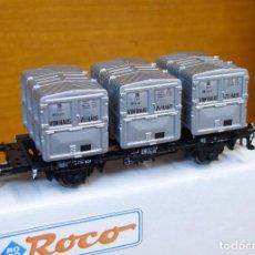 Trenes Escala: ROCO HO VAGÓN CON TRIPLE CONTENEDOR, DE LA DB, REFERENCIA 46524.. Lote 183503371