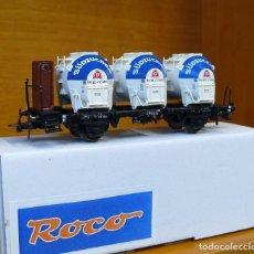 Trenes Escala: ROCO HO VAGÓN CON 3 CONTENEDORES SILO, DE LA DB, REFERENCIA 46528.. Lote 183503932
