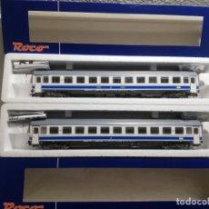 Trenes Escala: VAGONES ROCO RENFE REFERENCIAS GRANDES LÍNEAS COLOR DANONE. Lote 194391571