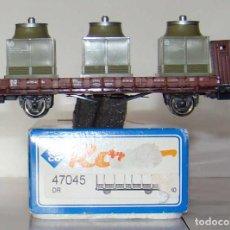 Trenes Escala: VAGON TELEROS DE ROCO CON TRES MAQUINAS DE LA DR ESCALA HO REF.: 47045. Lote 194995187