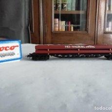 Trenes Escala: ROCO H0 47218 VAGÓN CARGA TUBOS HALBERG DB ALEMÁN NUEVO. Lote 208385528