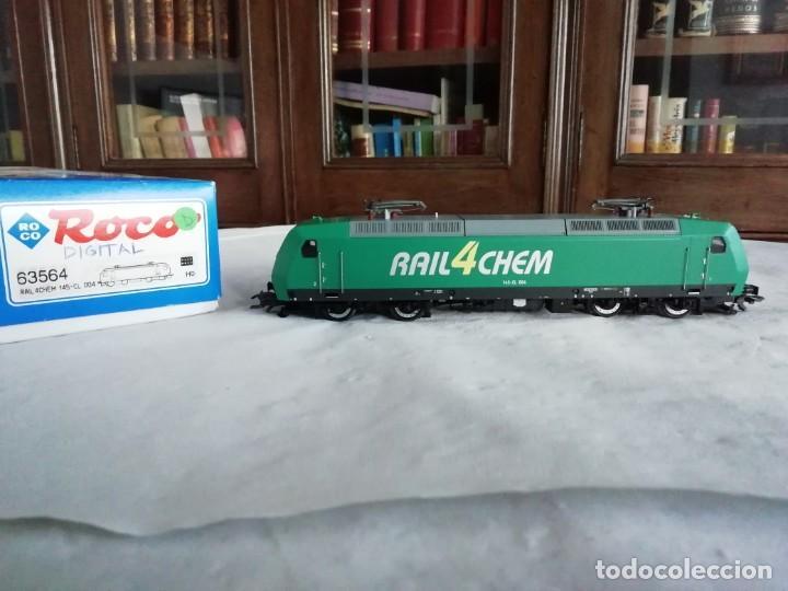 ROCO H0 63564 LOCOMOTORA ELÉCTRICA 145-CL 004 RAIL4CHEM NUEVA (Juguetes - Trenes a Escala H0 - Roco H0)