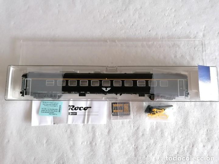 Trenes Escala: Roco H0 64297 Vagón de Pasajeros 1ª Clase Tipo A7 SJ Sueco Nuevo OVP - Foto 2 - 225093338