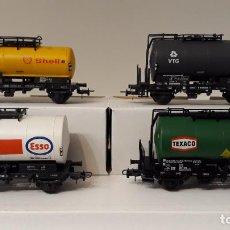 Trenes Escala: ROCO H0 SET 4 CISTERNAS CORTAS DE 2 EJES, DE LA DB, REFERENCIAS 4336E, 46137, 46138 Y 46144.. Lote 244803810