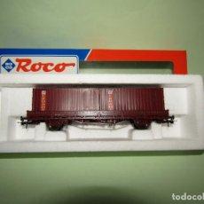 Trenes Escala: ANTIGUO VAGÓN TELEROS RENFE CON CONTENEDORES CRONOS ESCALA *H0* DE ROCO. Lote 251270420
