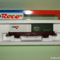 Trenes Escala: ANTIGUO VAGÓN TELEROS RENFE CON CONTENEDORES SEMAT Y CGM ESCALA *H0* DE ROCO. Lote 251270710