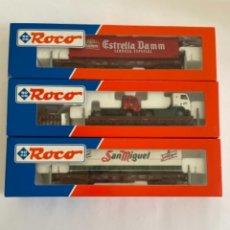 Trenes Escala: ROCO. HO. REF. 46579.7 + 46579.6 + 46536.2 CONJUNTO 3 VAGONES PORTACAMIONES RENFE. Lote 254711500
