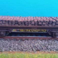 Treni in Scala: VAGON SIN BORDES CON CARGA DE TRAVIESAS. Lote 266362338