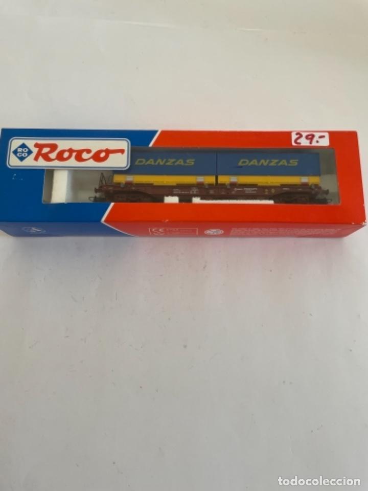 ROCO. HO. REF 46579 RENFE VAGON PORTACONTENEDORES (Juguetes - Trenes a Escala H0 - Roco H0)