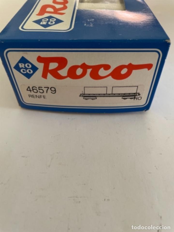 Trenes Escala: ROCO. HO. REF 46579 RENFE VAGON PORTACONTENEDORES - Foto 3 - 268262899