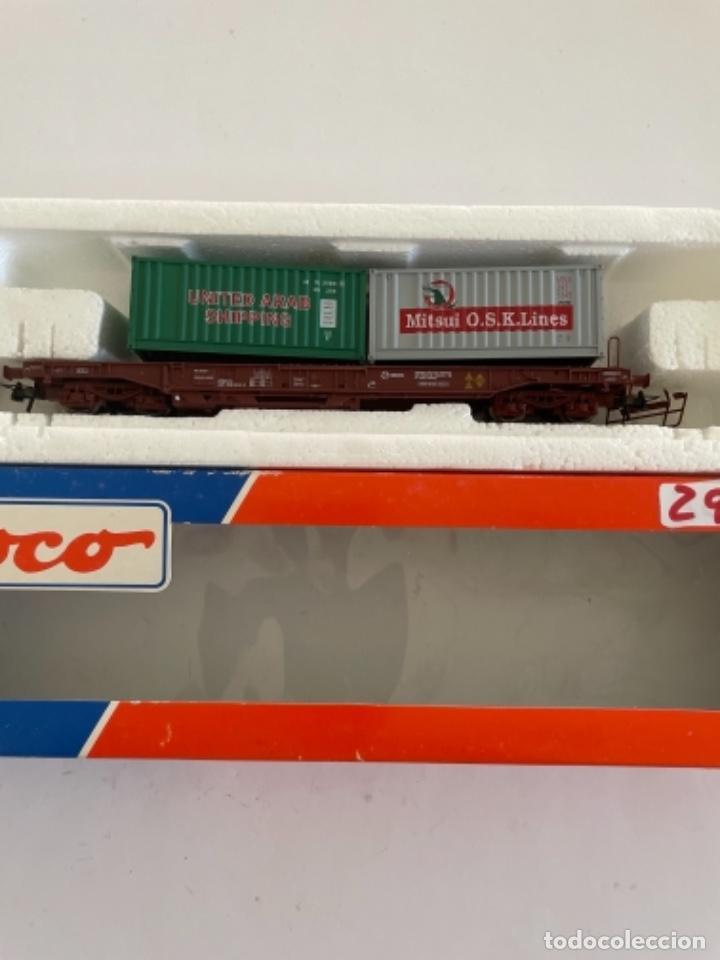 Trenes Escala: ROCO. HO. REF 46579.5 RENFE VAGON PORTACONTENEDORES - Foto 2 - 268262999