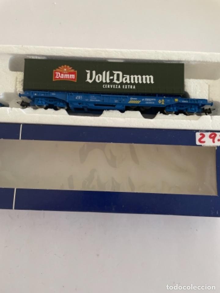 Trenes Escala: ROCO. HO. REF 66705 RENFE VAGON PORTACONTENEDORES - Foto 2 - 268263264