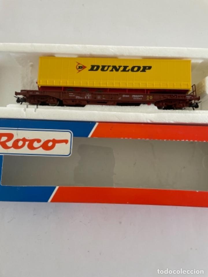 Trenes Escala: ROCO. HO. RENFE VAGON PORTACONTENEDORES - Foto 2 - 268264019