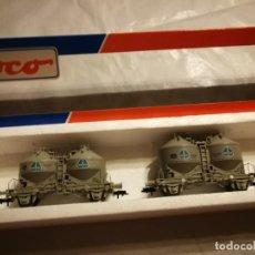 Trenes Escala: ESTUCHE 2 VAGONES SILOS, CAJA ERRONEA. Lote 288152483