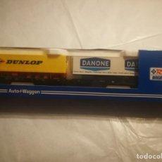 Trenes Escala: ROCO VAGONES Y REMOLQUES DANONE DUNLOP. Lote 288308548