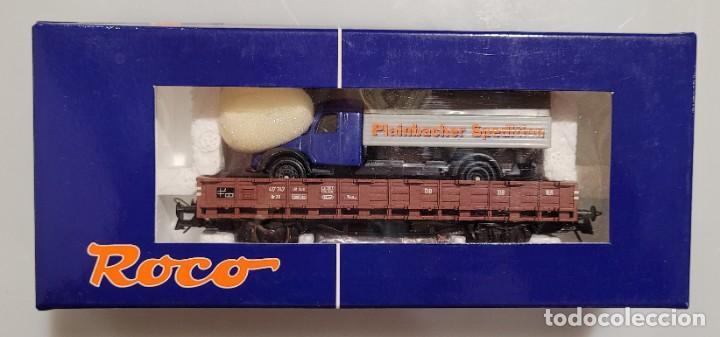 ROCO H0 56023- VAGÓN PLATAFORMA DB CON CAMIÓN. NUEVO (Juguetes - Trenes a Escala H0 - Roco H0)
