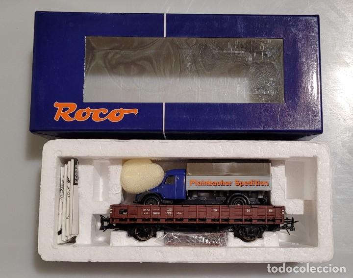 Trenes Escala: ROCO H0 56023- VAGÓN PLATAFORMA DB CON CAMIÓN. NUEVO - Foto 2 - 289547233