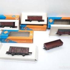 Trenes Escala: ROCO H0 5 VAGONES MERCANCIAS TIPO IBERTREN JOUEF MARKLIN RICO. Lote 290116818