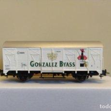 Trenes Escala: ROCO H0 VAGÓN CERRADO DE GONZÁLEZ BYASS, RENFE, REFERENCIA 47340.. Lote 296049283