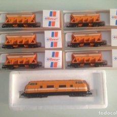 Trenes Escala: TREN, COMPOSICIÓN COMSA, LOCOMOTORA V 200, COMSA 51 LOK 2904+ 6 TOLVAS , ROCO 23288.2, ROCO 25276. Lote 131339162
