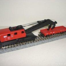 Trenes Escala: ROCO N GRUA Y VAGÓN (CON COMPRA DE CINCO LOTES O MAS ENVÍO GRATIS). Lote 140410254