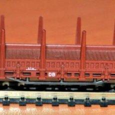 Trenes Escala: VAGÓN PLATAFORMA TELEROS 2 EJES MARRÓN DE LA DB DE ROCO, ESCALA N, COMPATIBLE IBERTREN.. Lote 147062662