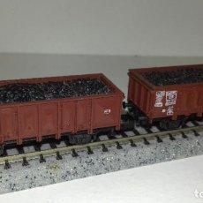 Trenes Escala: ROCO N 2 VAGONES BORDE ALTO CON CARBÓN --- L45-131 (CON COMPRA DE 5 LOTES O MAS, ENVÍO GRATIS). Lote 205561458